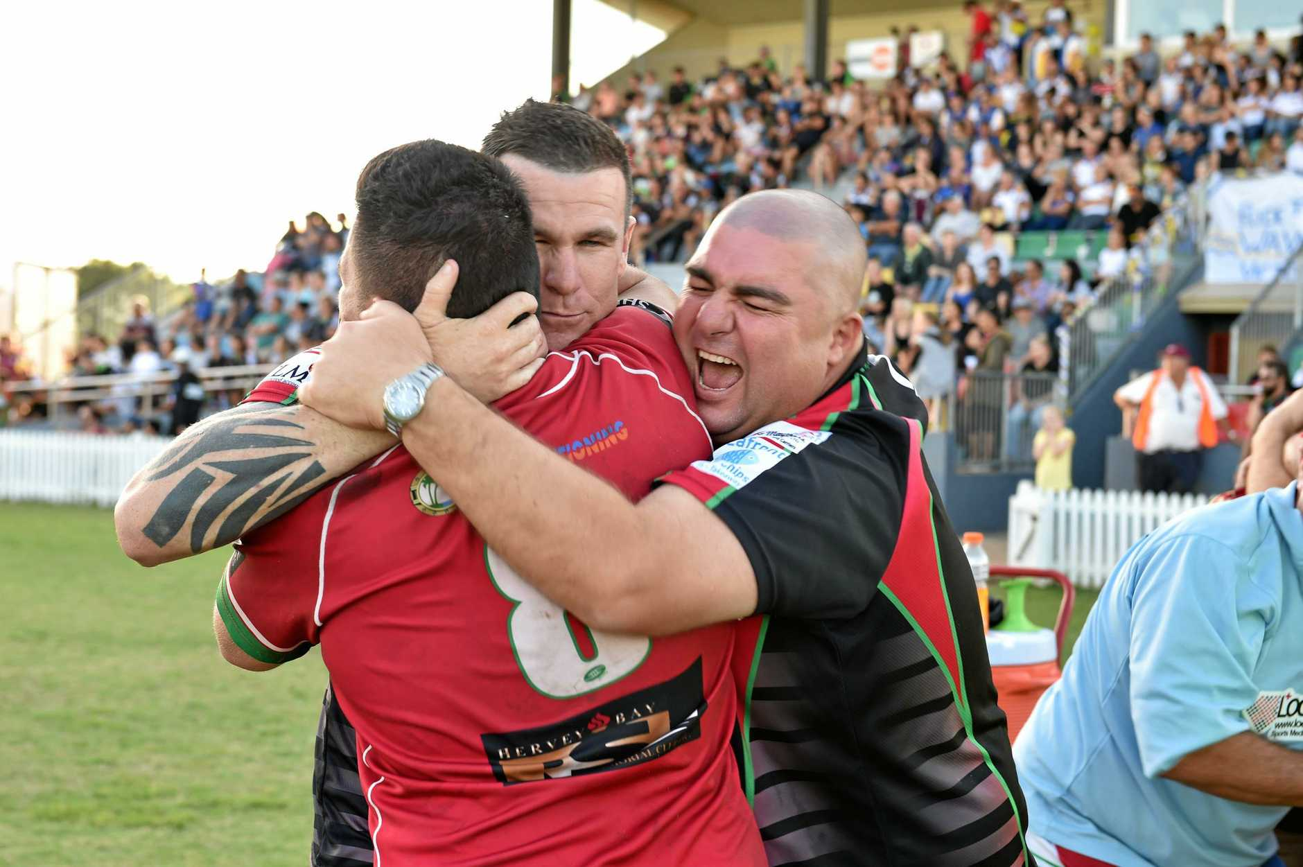 FLASHBACK: Nathan McGrath (right) celebrates with coach Tye Ingebrigtsen (centre) after the Hervey Bay Seagulls won the Bundaberg Rugby League grand final against Waves Tigers in 2016.