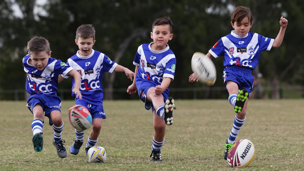 Nicholas Di Tullio, 5, Wolfgang Cartledge, 6, Kairo Wirihana, 6, and Cooper Fogg, 6, won't see a premiership until they reach under-13s. Picture: AAP/Claudia Baxter
