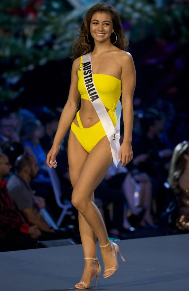 Miss Australia Francesca Hung in her bright, one-piece swimsuit.
