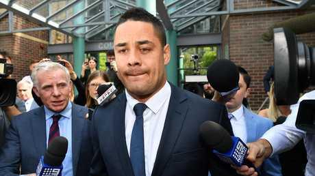 Jarryd Hayne leaves Burwood Local Court in Sydney. Picture: Joel Carrett
