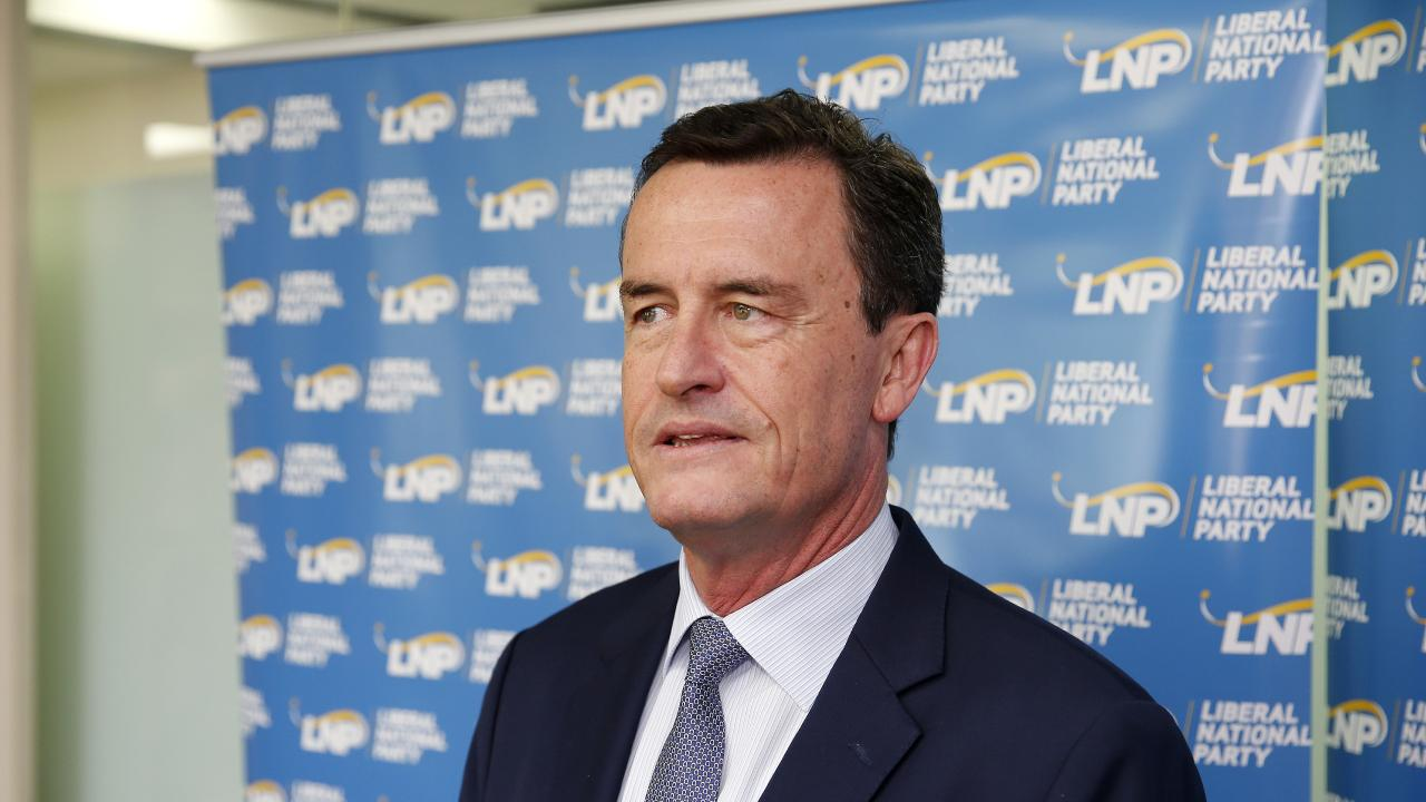 Outgoing LNP President Gary Spence pictured addressed the media on Friday. Picture: AAP/Josh Woning