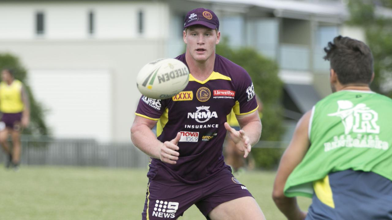 Brisbane Broncos forward Thomas Flegler during a training session.