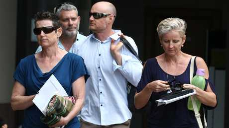 Family of Stella Hamilton - Fiona Hamilton (left), Hamish Hamilton (centre) and Caroline Britton (right) - who was found dead at a Malanda nursing home, leave the coronial inquest into her death at the Cairns Courthouse. PICTURE: BRENDAN RADKE