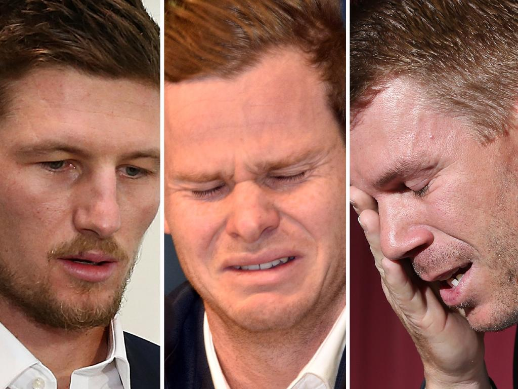 Batsman Cameron Bancroft, Steve Smith and David Warner. All three went down in the ball tampering scandal. Peter Parks