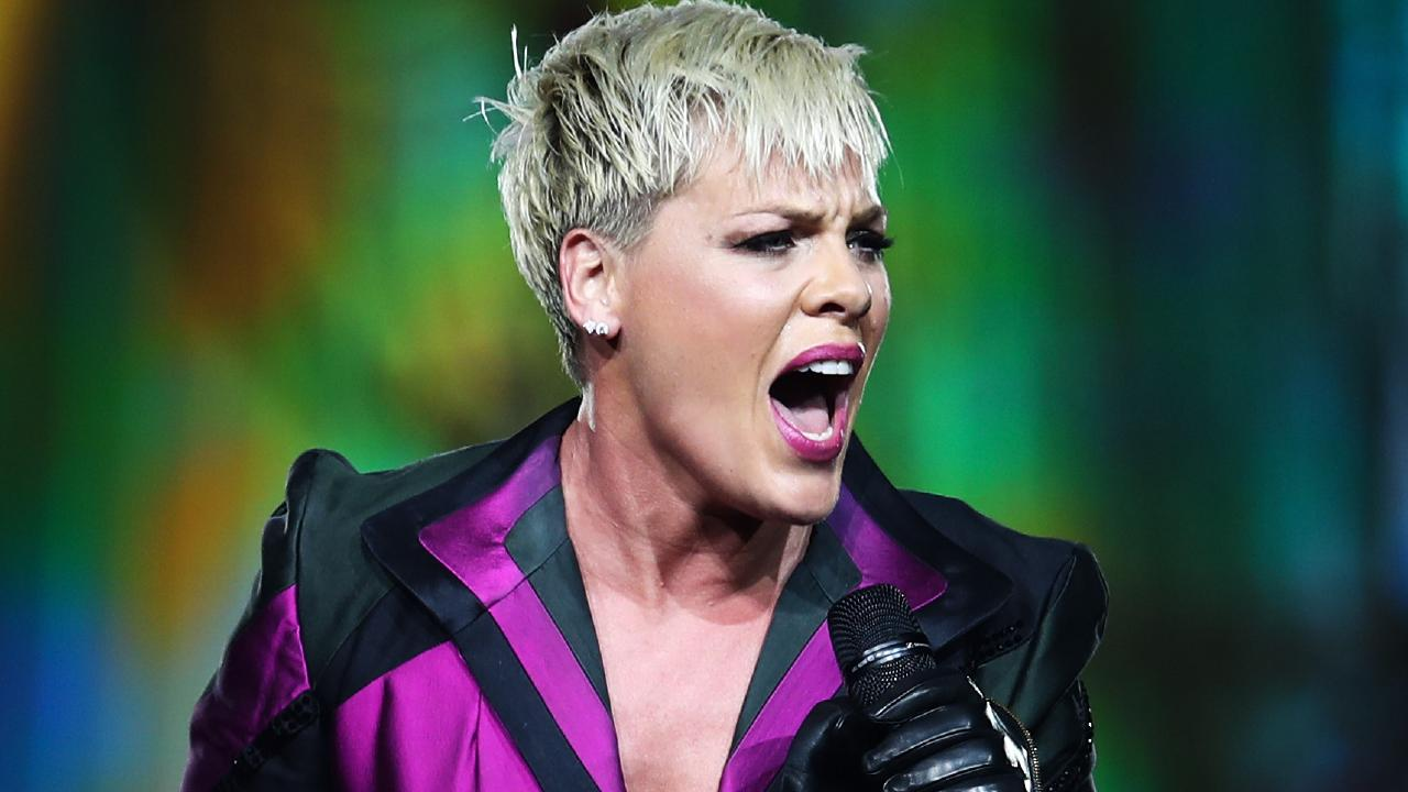 Pink performing her Beautiful Trauma World Tour at Qudos Bank Arena in Sydney. Picture: AAP Image /Brendon Thorne