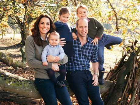 This gorgeous family photo of the Duke and Duchess of Cambridge with their three children will be their Christmas card this year. Picture: Matt Porteous/Kensington Palace