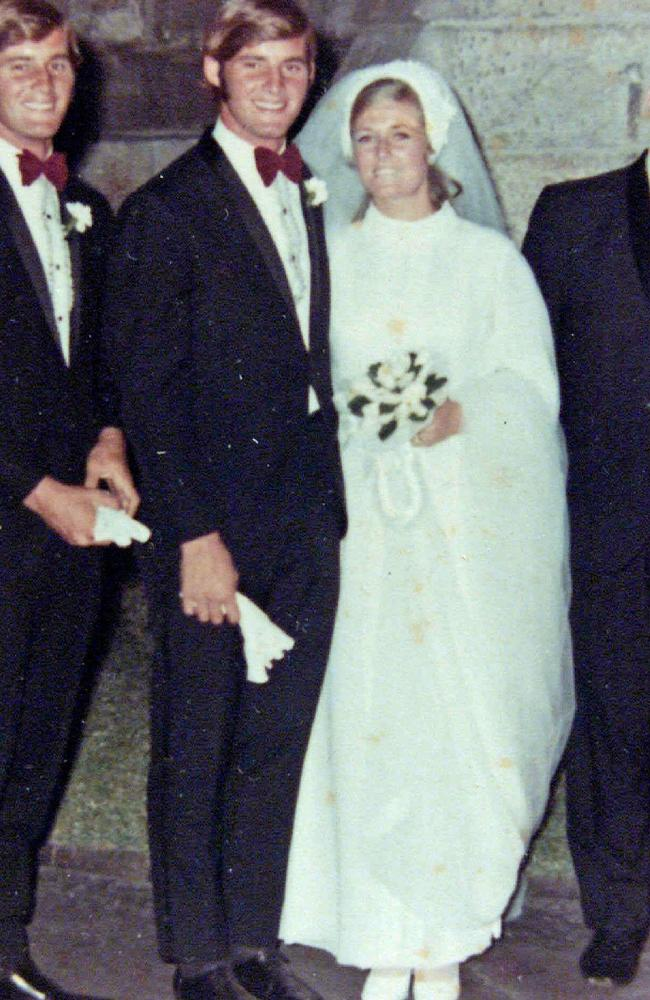 Chris Dawson with wife Lynette on their wedding day.