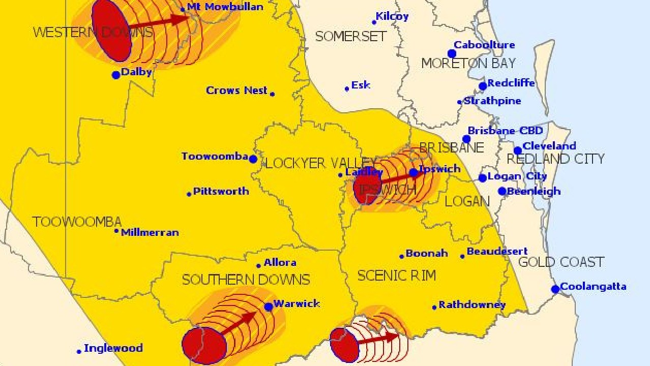 The 4.12pm warning issued by the Bureau of Meteorology showing a number of severe storms heading east across southeast Queensland.
