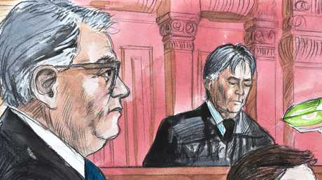Chris Dawson's lawyer Greg Walsh being cross-examined in court on Friday. Court sketch: Vincent de Gouw
