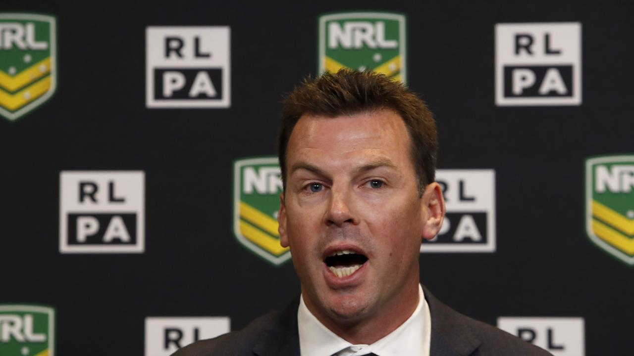 Rugby League Players Association (RLPA) Chief Executive Ian Prendergast speaks during a press conference at Rugby League Central in Sydney, Friday, November 3, 2017. The NRL and the RLPA have officially announced a new pay deal for players for the next 5 years. (AAP Image/Daniel Munoz) NO ARCHIVING