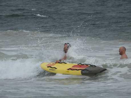 The rescue drama on the Sunshine Coast on Saturday morning.