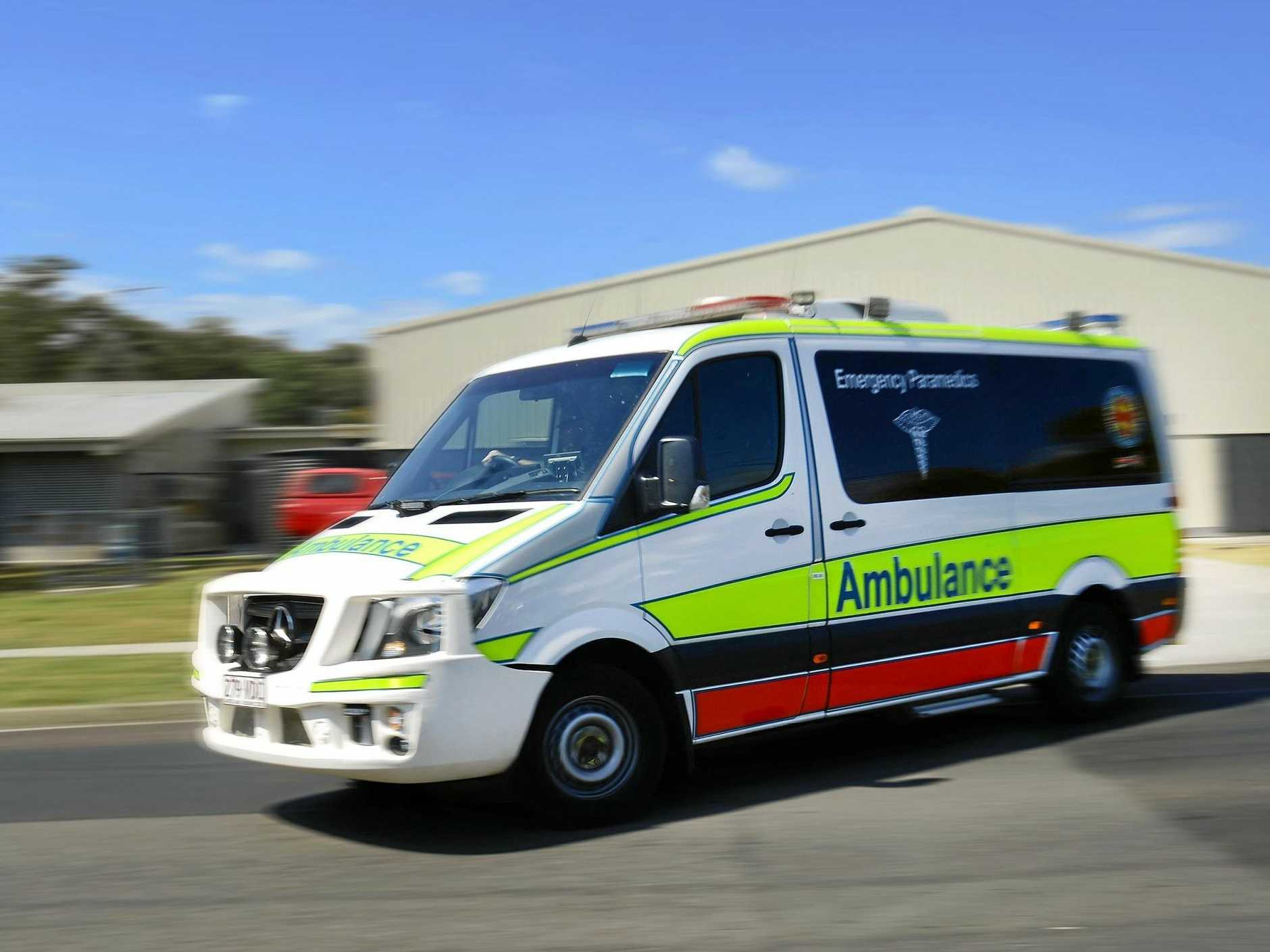 One person was taken to hospital in a serious condition after they fell from a ladder at Alexandra Headland yesterday evening.