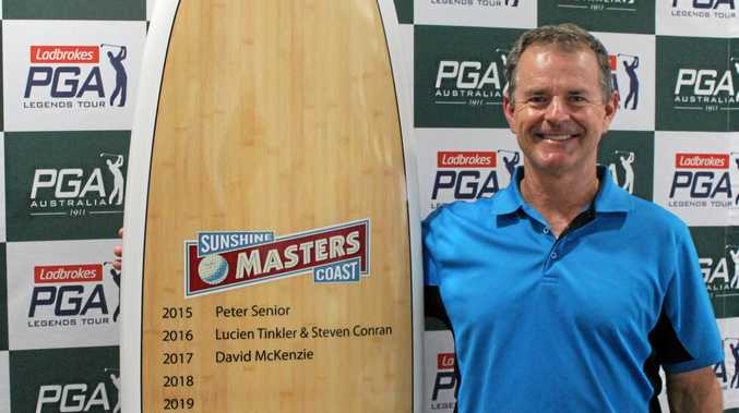 Former champion Toowoomba junior Richard Backwell celebrates his Sunshine Coast Masters victory.