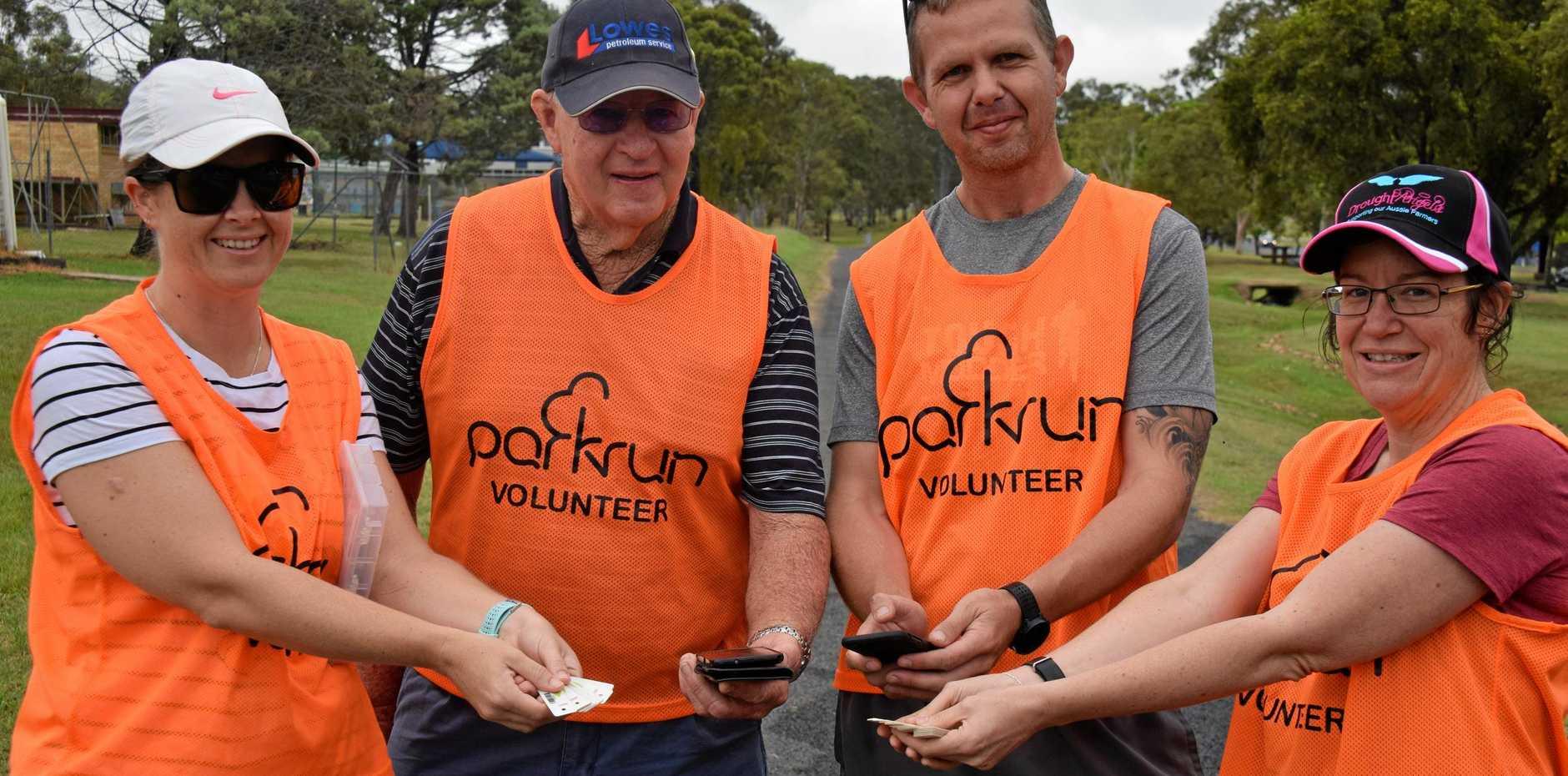 PRICELESS: Wondai Parkrun's hard working volunteers: Dani Obel, Winston Burrows, Deon McLean and Beck Payne