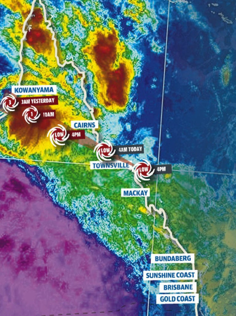 A map showing the path of ex-tropical cyclone Owen across Queensland.