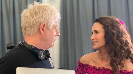 Richard Curtis and Andie MacDowell behind the scenes of the Four Weddings and a Funeral sequel. Picture: Twitter
