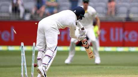 Lokesh Rahul is bowled out by Josh Hazlewood shortly after lunch. (AAP Image/Dave Hunt)