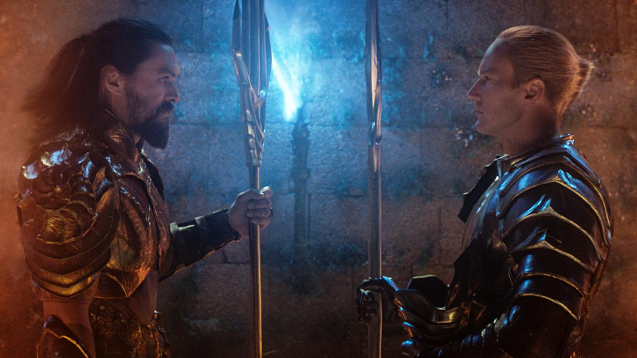Aquaman/Arthur Curry (played by Jason Momoa) faces off with his ambitious half-brother King Orm (Patrick Wilson).