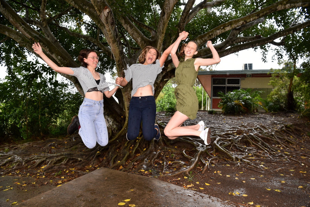 Image for sale: Three students from Burnside State High School students celebrate with an OP1 result.Grace Smith, Eden Danielsen-Jensen and Grace Knight.
