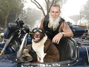 Ned Bailey and Sammy the dog. Downs Motorcycle