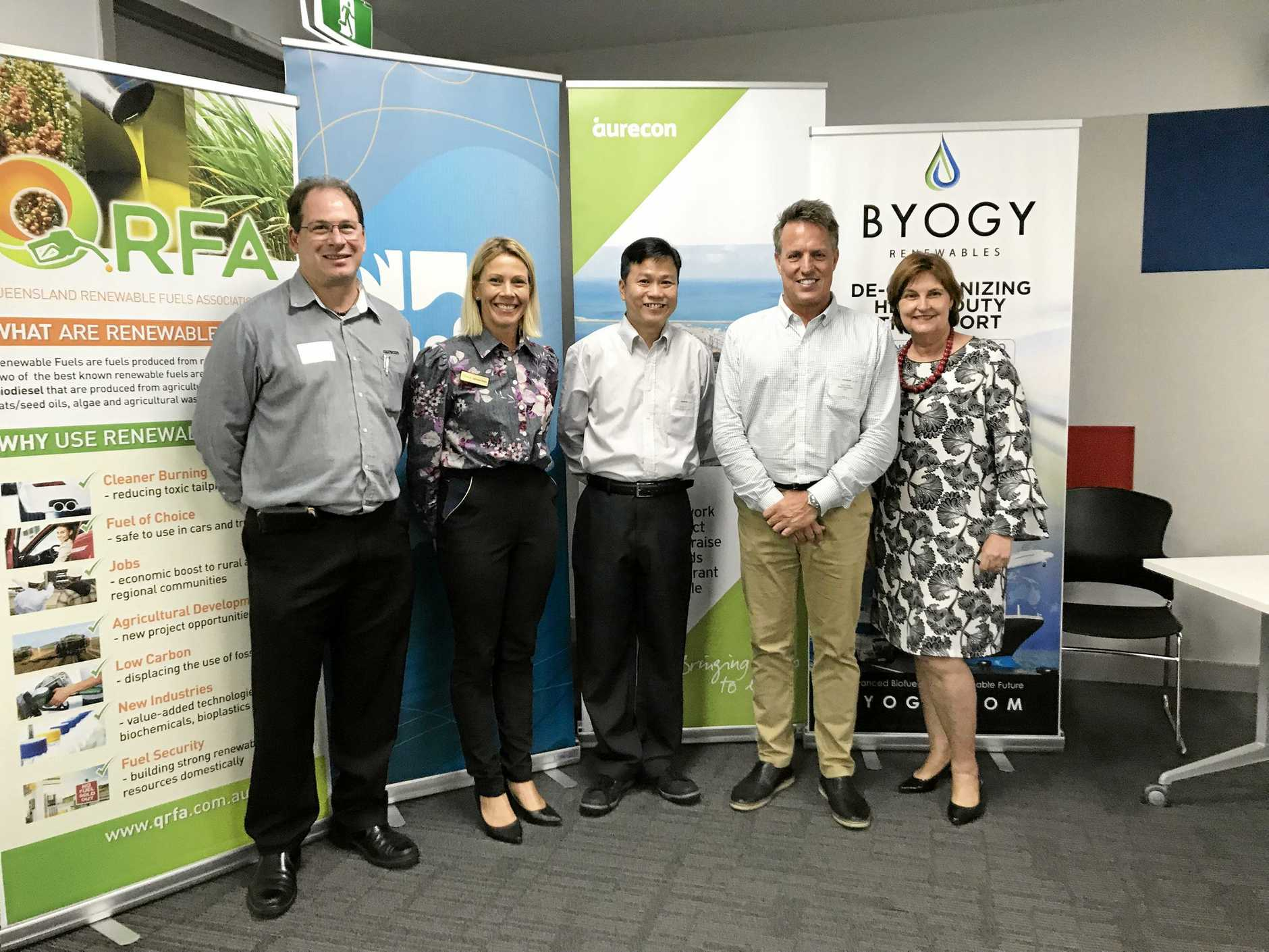 SWEET MEETING: Stephen Cutting - digital practice manager at Aureco, Larissa Rose - managing director at QRFA, Heng Ho Weng (QUT) - plant manager at Mackay Renewables Bicommodities Pilot Plant, Kevin Weiss - chief executive officer at Byogy Renewables and Julieanne Gilbert - Member for Mackay