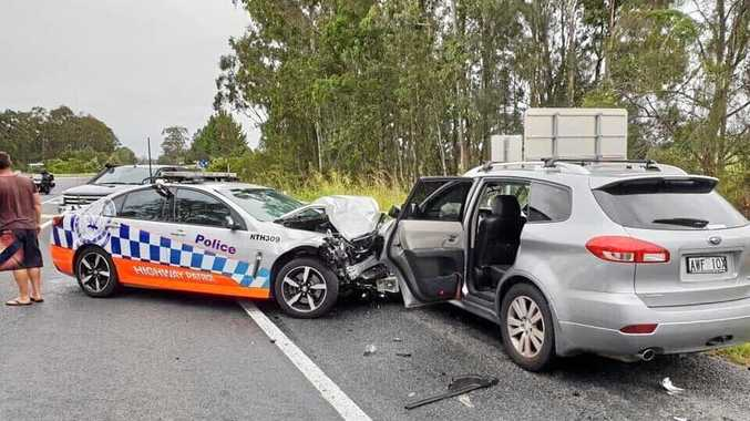 Highway patrol officer injured after highway collision