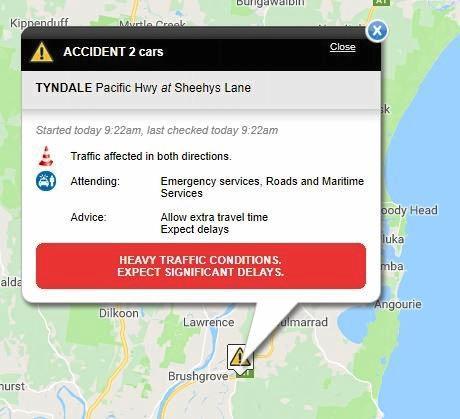 Livetraffic report of Tyndale crash