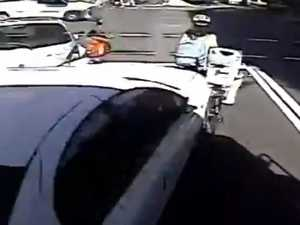 Horror moment car rams a cyclist