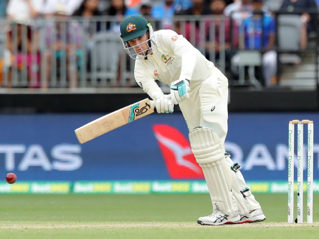Peter Handscomb bats on day three of the second Test in Perth. Picture: AAP