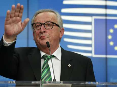 European Commission President Jean-Claude Juncker speaks during a media conference at an EU summit in Brussels on Friday. European Union leaders have offered Theresa May sympathy but no promises. Picture: Alastair Grant