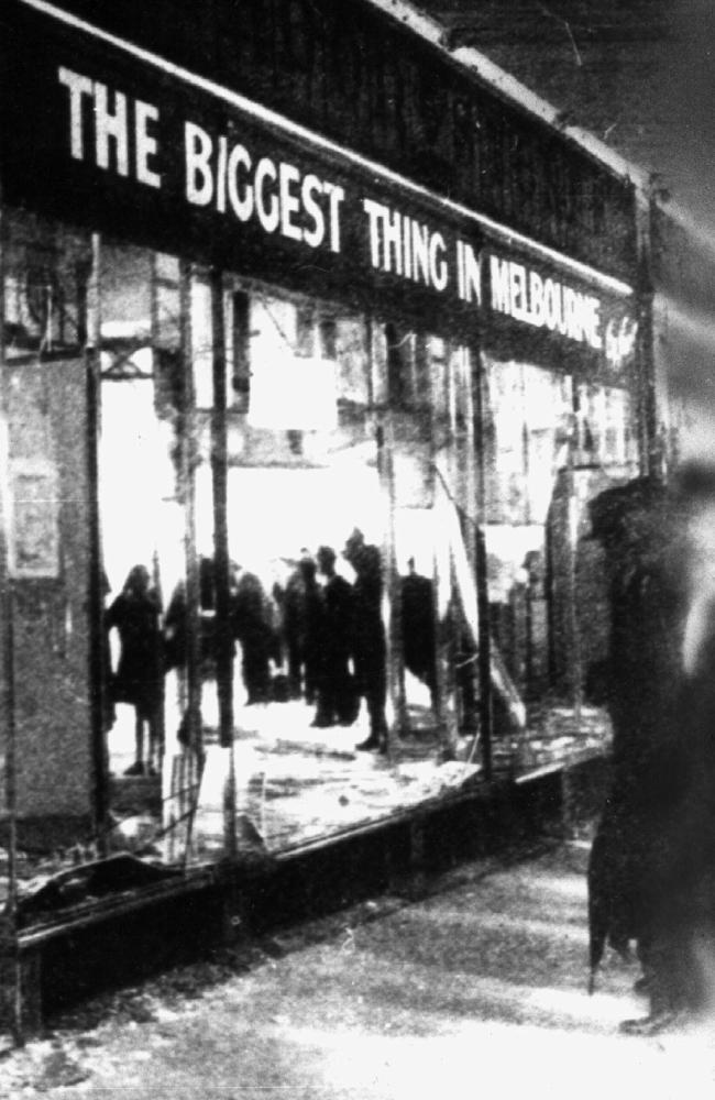 A shop window broken in the Melbourne riots during the police strike in 1923.