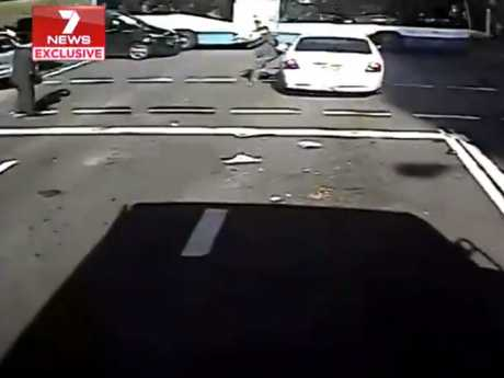 He jumps out of the way just in time. Picture: 7 News