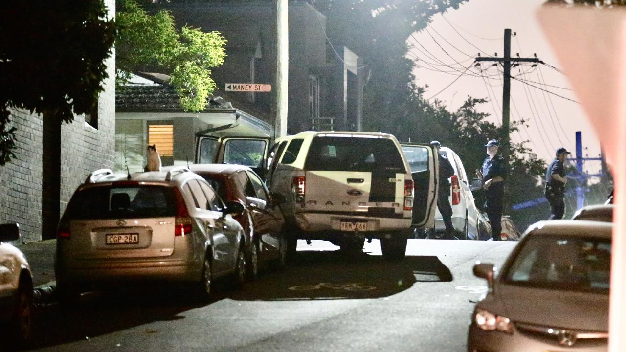 An unmarked police vehicle was rammed by a 4WD utility, injuring two officers and damaging the vehicle in an incident on Lilyfield Road at Rozelle overnight. Picture: Steve Tyson