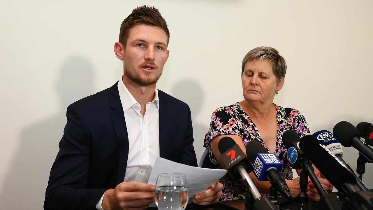 Cameron Bancroft addresses the media alongside WACA CEO Christina Matthews. Photo: Paul Kane/Getty Images.