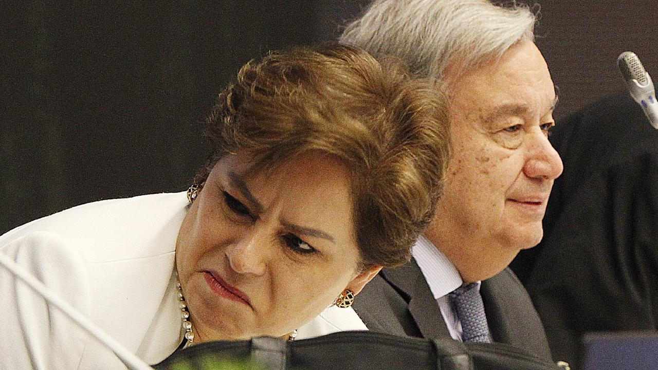 Executive Secretary of UN Climate Change Patricia Espinosa, left, and UN Secretary General, Antonio Guterres, right, attend the COP24 summit. Picture: AP