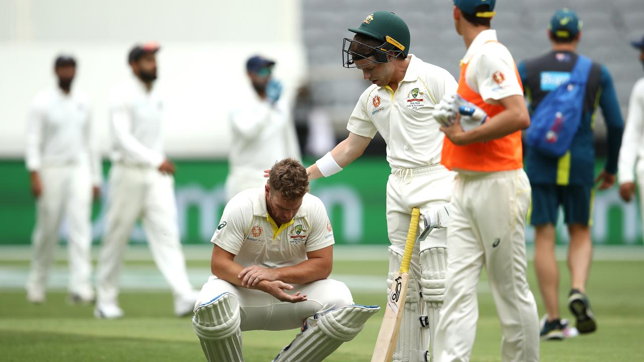 Finch failed to face another delivery after being struck on the hand. (Photo by Ryan Pierse/Getty Images)