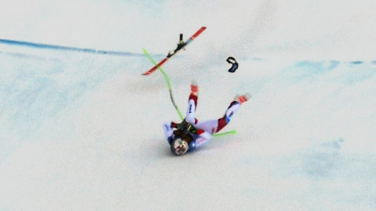 Switzerland's Marc Gisin was airlifted to hospital after the terrifying crash.