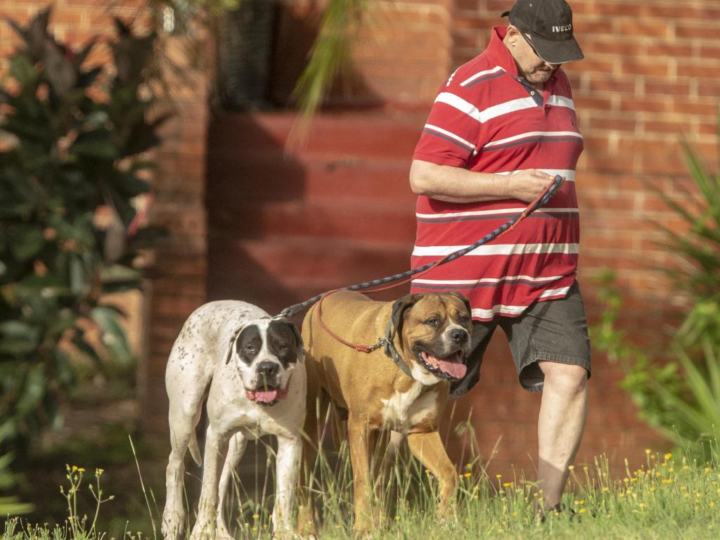 Holschier, 51, with his dogs in Sydney on Sunday. Picture: Jenny Evans
