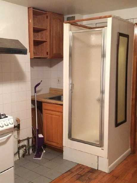 The 'sad kitchen shower apartment' before Brooke Lucas moved in. Picture: Michael Wiltbank