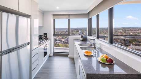 The Meriton also has a full kitchen and laundry, a private balcony, a master ensuite with bathtub and costs about $254 a night. Picture: Meriton
