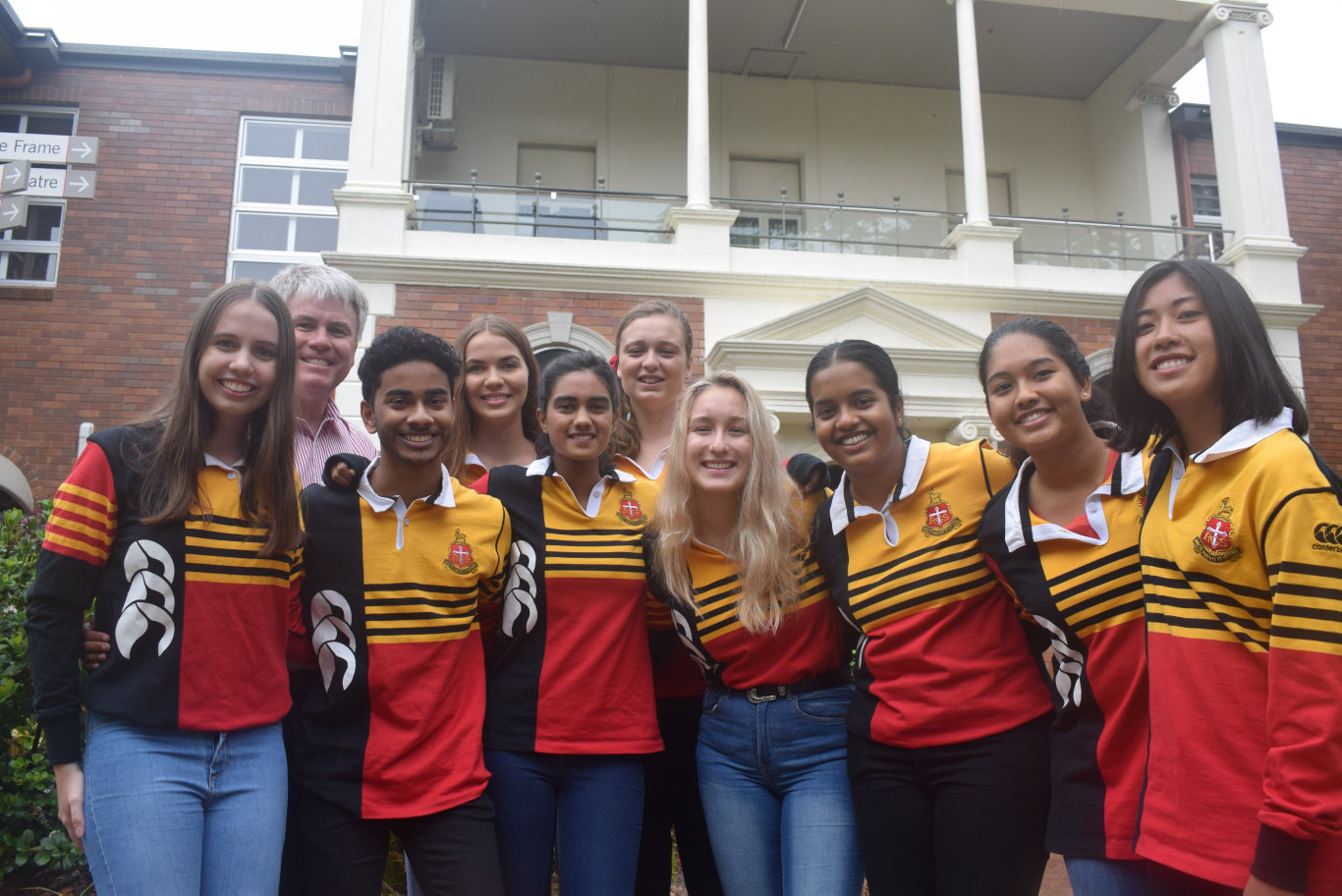 OP1 STUDENTS: Hannah Woods (left), Dr Phillip Moulds, Banuka Ralapanawa, Annabel Flockhart, Pooja Arumugam, Neeve Saw, Olivia Germann-De Wet, Hamsika Bontula, Novoneela Siddiqui, Beatrice Torres were proud Rockhampton Grammar Students to receive the top academic honor.