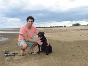 Matt Anderson and Angus the dog enjoy Town Beach as