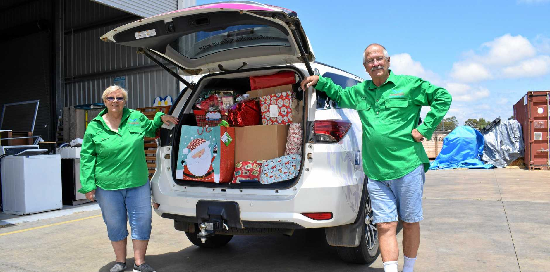 SANTA'S HELPERS: Drought Angels volunteers Chris and Dean Barnett have already clocked up more than 33,000km delivering Christmas care packages to Aussie farmers.