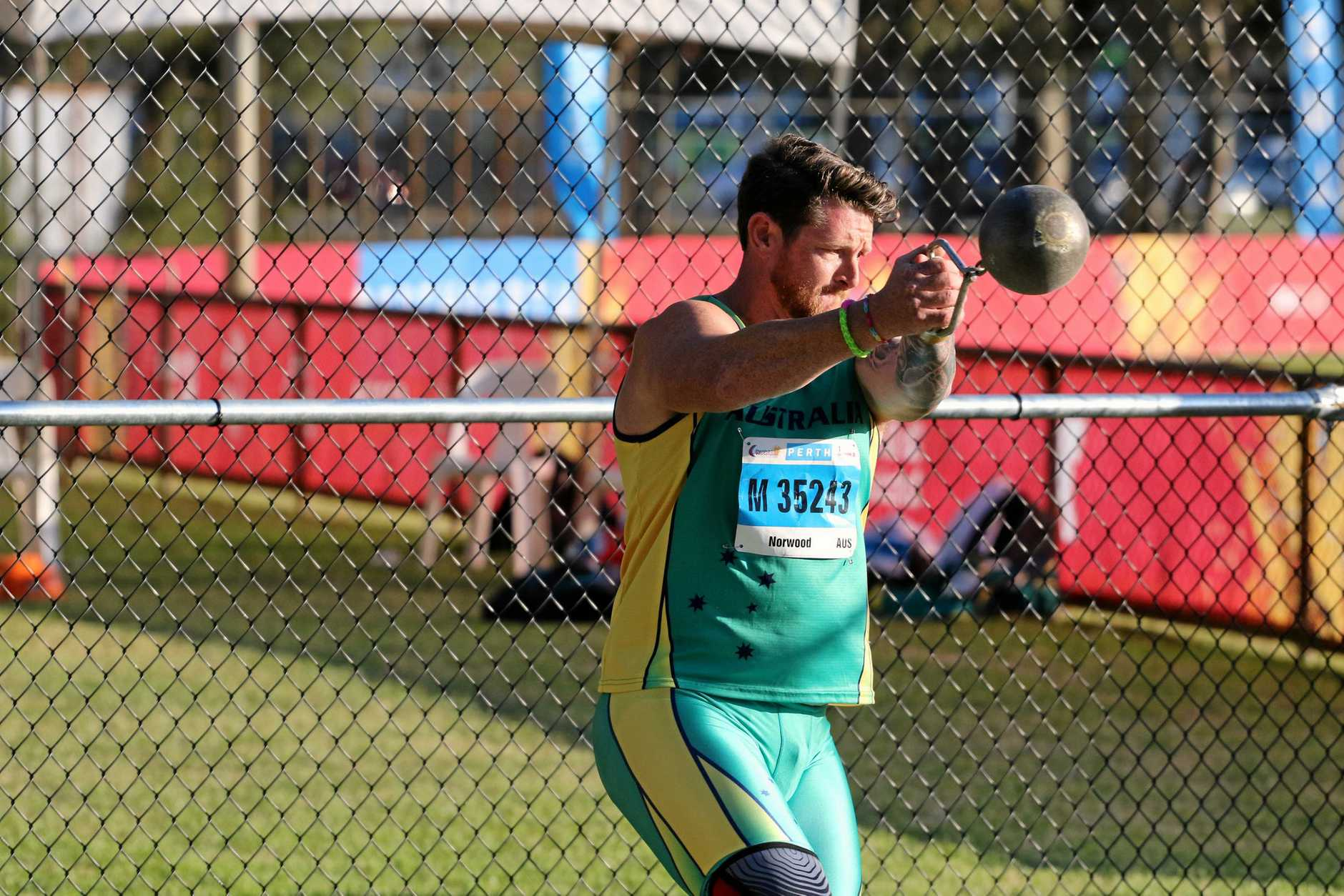 Ipswich athlete Darrin Norwood competes at the world masters championships in Perth.