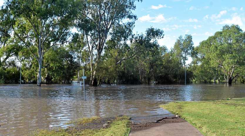 Floodwaters around the Edward Street weir.