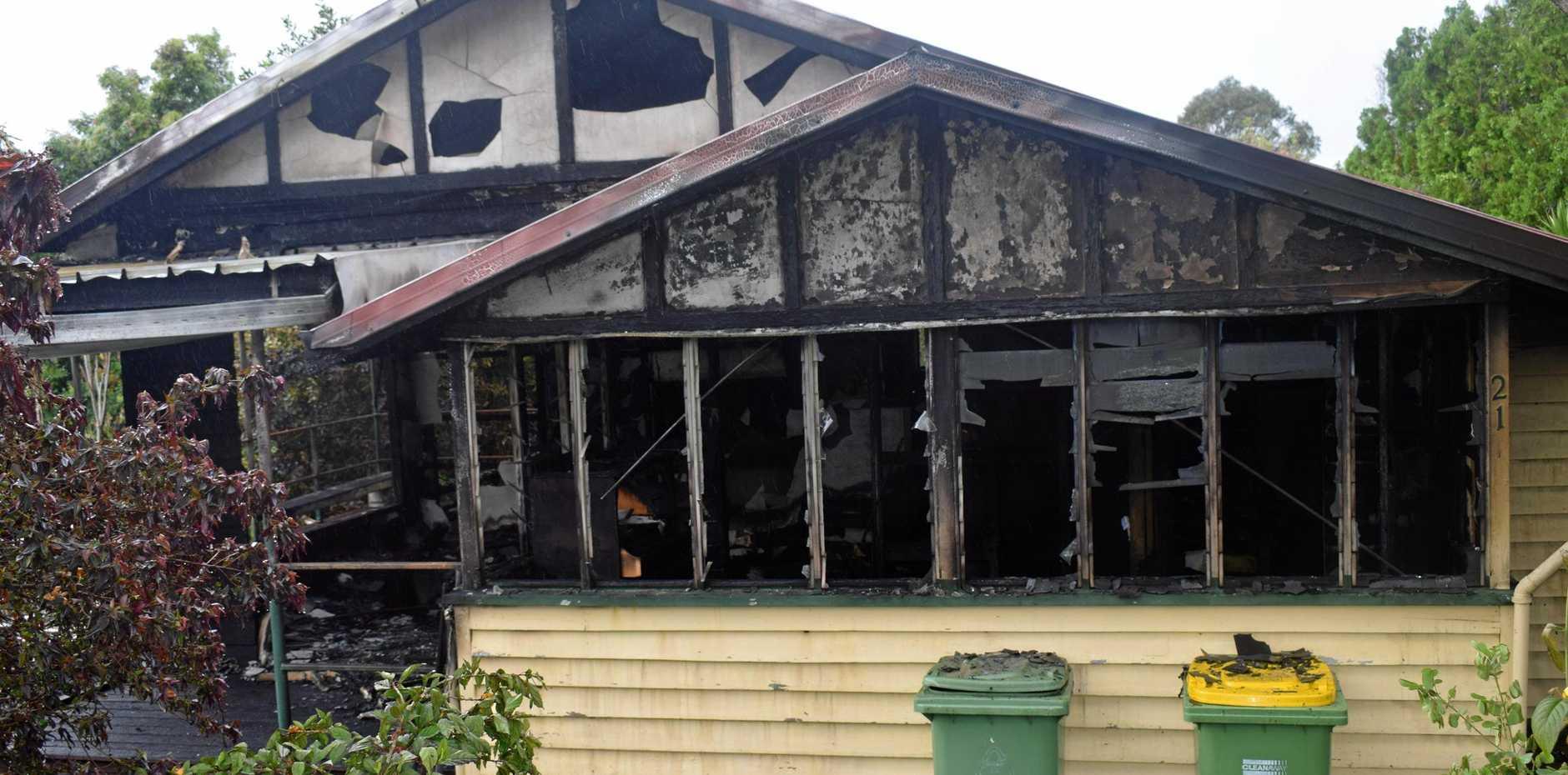 UTTER DEVASTATION: The Main St property after last night's inferno.