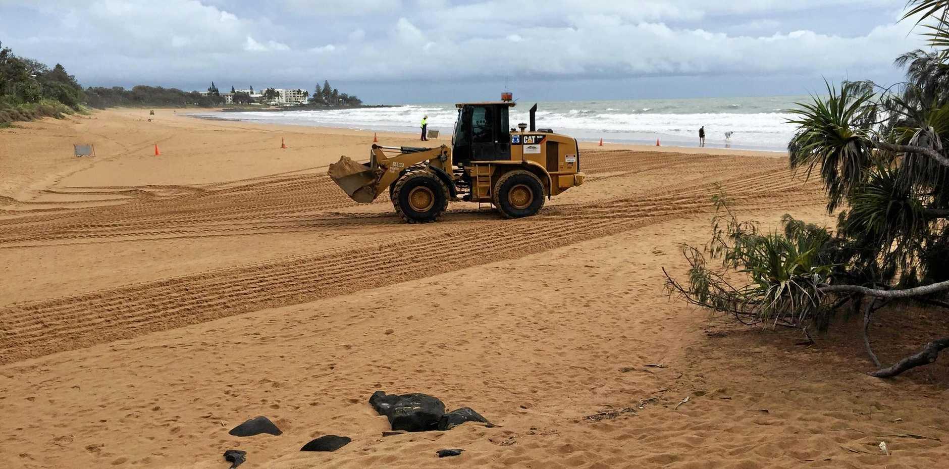 BEACH WORK: Channel clearing works underway on Kellys Beach.