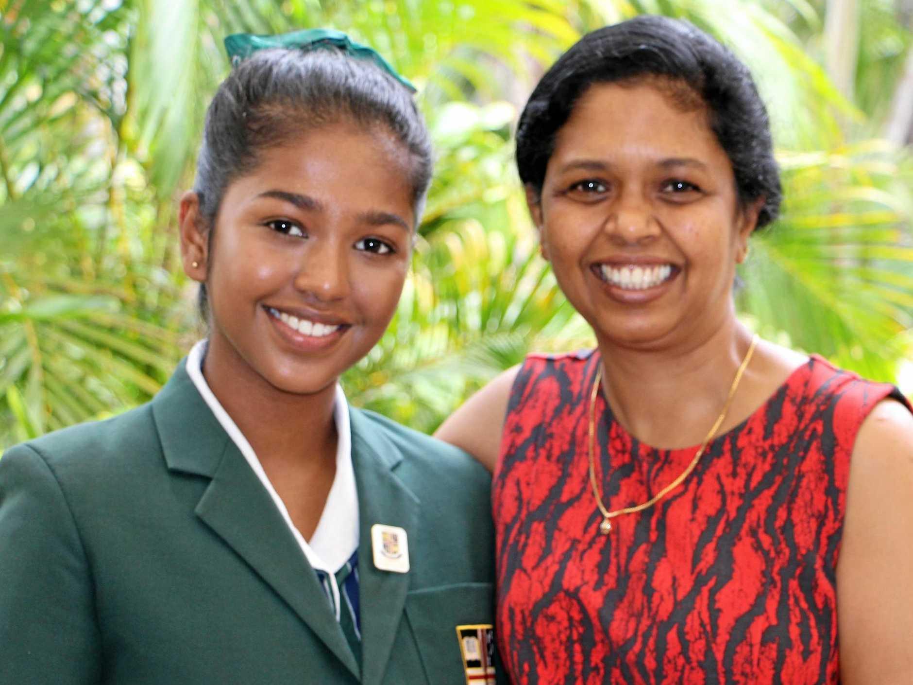 Tharushi Abeyratne, Sunshine Coast Grammar School Dux and OP1 recipient with her proud mother.