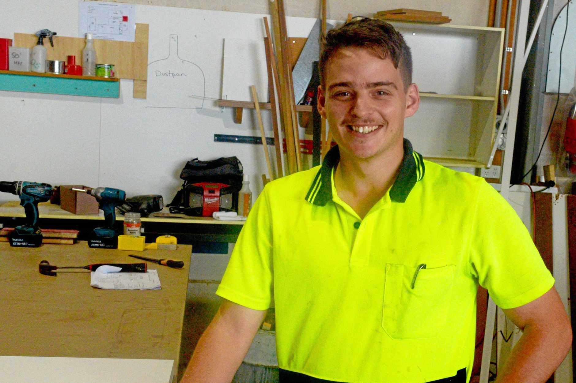 NEW START: Julian Harris from Kawana Cabinets found himself a job with the company after a month with its predecessor.