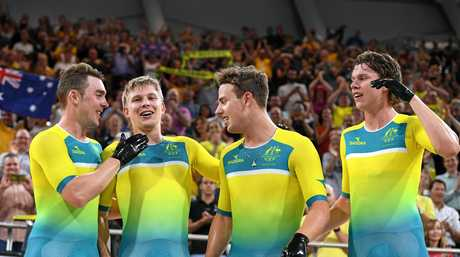TOP TEAM: Leigh Howard, Alex Porter, Sam Welsford and Kelland O'Brien of Australia after clinching gold and a world record at the  Commonwealth Games at the Gold Coast.